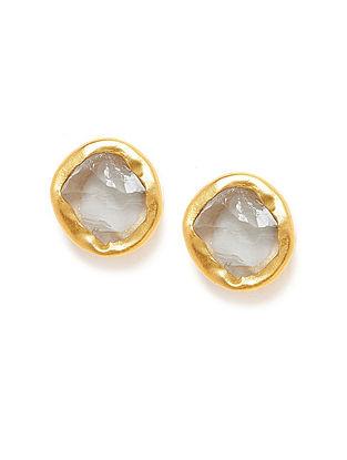 Green Amethyst Gold Plated Earrings