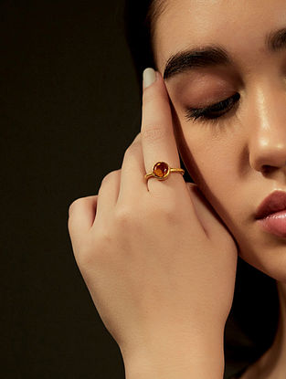 Citrine Gold Plated Adjustable Ring