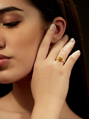 Yellow Opal Gold Plated Adjustable Ring