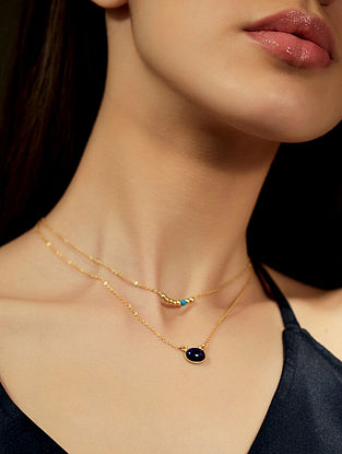 Lapis And Turquoise Gold Plated Necklace