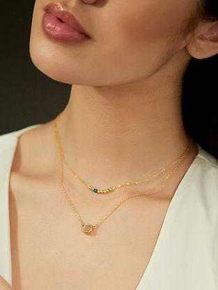 Quartz And Malachite Gold Plated Necklace