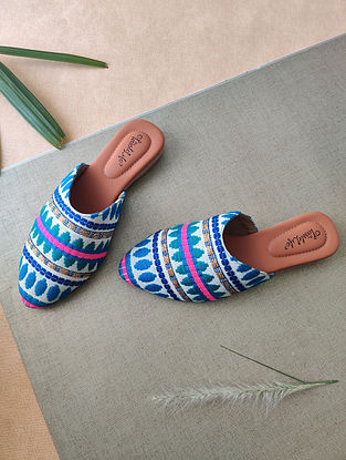 Multicolored Handrafted Faux Leather Mules