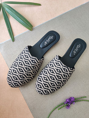 Black White Handcrafted Faux Leather Mules