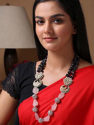 Pink Black Gold Tone Beaded Kundan Necklace