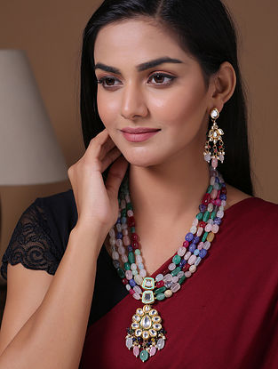 Multicolored Gold Tone Beaded Kundan Necklace With Earrings