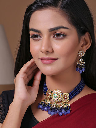 Blue Gold Tone Beaded Kundan Necklace With Earrings
