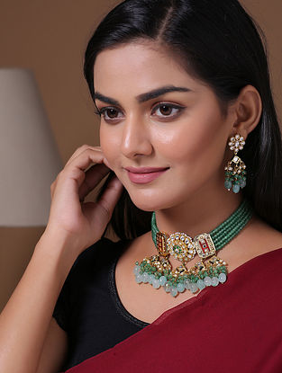Green Gold Tone Beaded Kundan Necklace With Earrings
