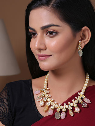 Multicolored Gold Tone Kundan Necklace And Earrings With Pearls