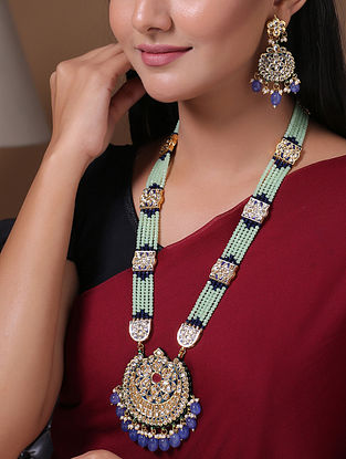 Blue Green Gold Tone Enameled Kundan Necklace With Earrings