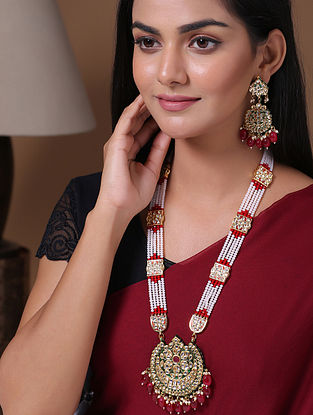 Multicolored Gold Tone Enameled Kundan Necklace With Earrings