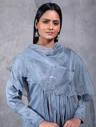 Varuna Grey Embroidered Organza Dupatta