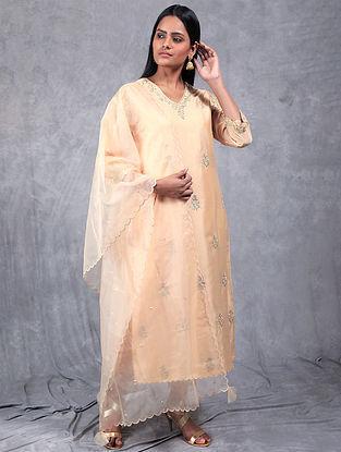 Resham Cream Embroidered Chanderi Silk Kurta
