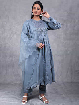 Palash Grey Embroidered Chanderi Silk Kurta