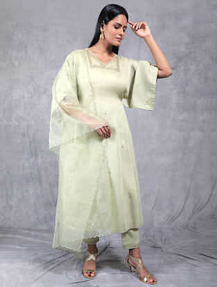 Vasudha Olive Embroidered Chanderi Silk Kurta