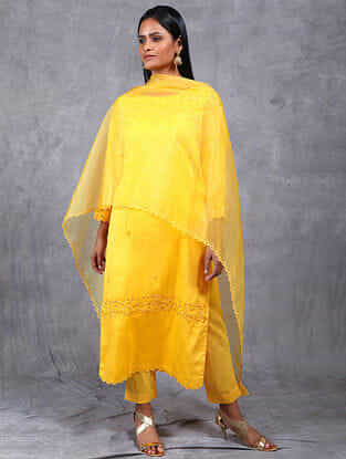 Nargis Mustard Embroidered Chanderi Silk Kurta