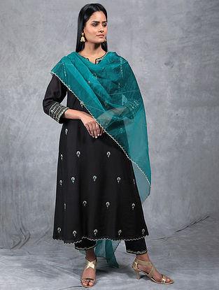 Nayan Black Embroidered Chanderi Silk Kurta