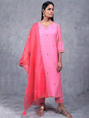 Kamal Blush Pink Embroidered Chanderi Silk Kurta