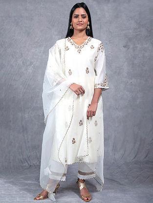 Mogra Ivory Embroidered Chanderi Silk Kurta
