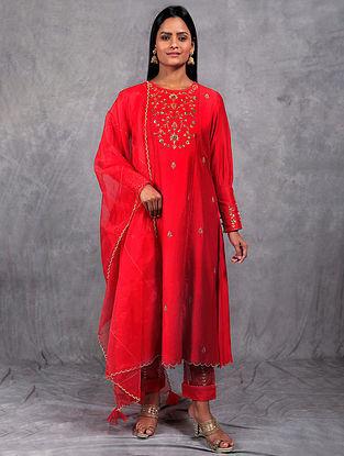 Gul Red Embroidered Chanderi Silk Kurta