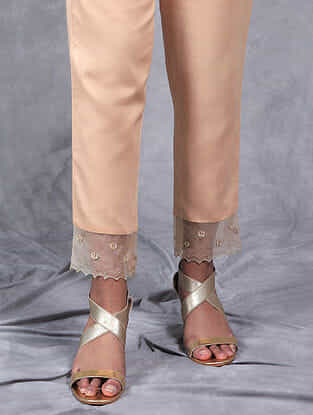 Nupur Cream Embroidered Mul Pants