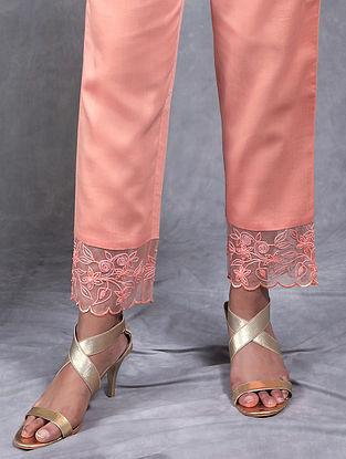 Manjul Peach Embroidered Mul Pants