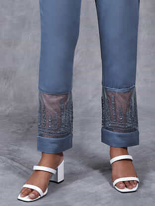 Chand Grey Embroidered Mul Pants