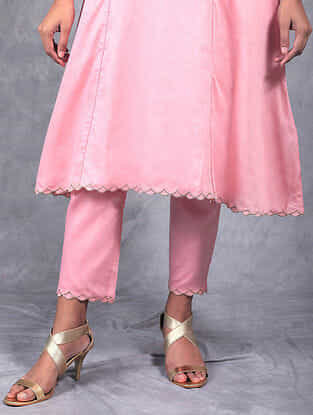 Padma Pink Embroidered Mul Pants