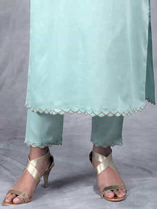 Nihar Mint Embroidered Mul Pants