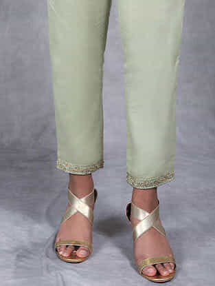 Pushpa Olive Embroidered Mul Pants