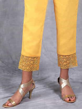 Surya Mustard Embroidered Mul Pants