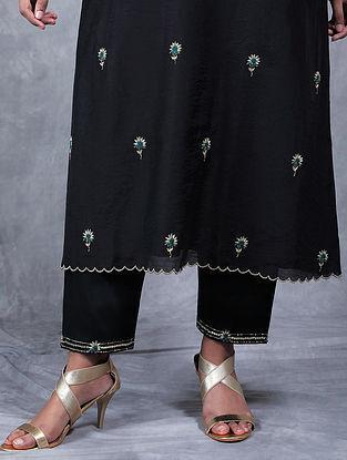 Jhanjar Black Embroidered Mul Pants