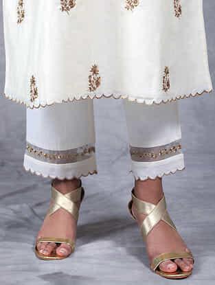 Rajani Ivory Embroidered Mul Pants