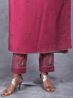 Aboli Magenta Embroidered Mul Pants