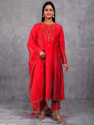 Bahar Red Embroidered Mul Pants