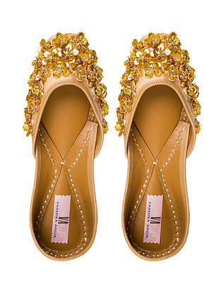 Gold Handcrafted Sequined Genuine Leather Juttis