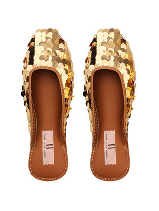 Gold Handcrafted Sequined Genuine Leather Mojaris
