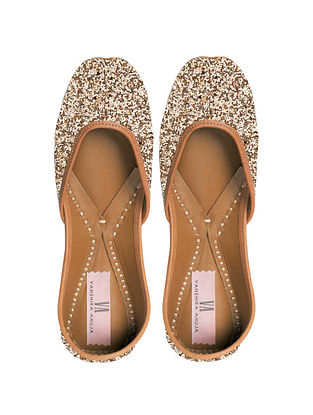 Gold Glitter Handcrafted Genuine Leather Juttis