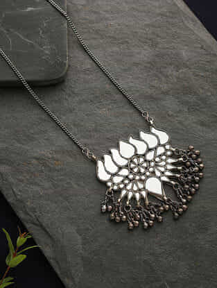 Silver Tone Tribal Glass Pendant With Chain