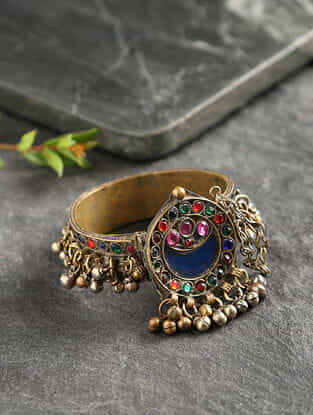 Multicolored Glass Gold Tone Tribal Bangle