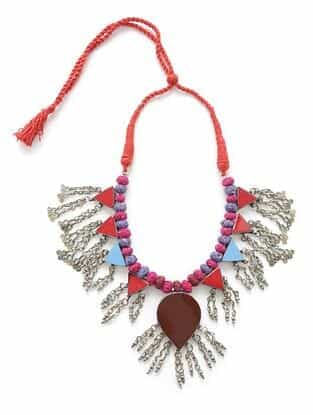 Multicolored Silver Tone Tribal Necklace
