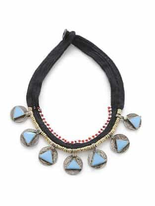 Turquoise Silver Tone Tribal Necklace