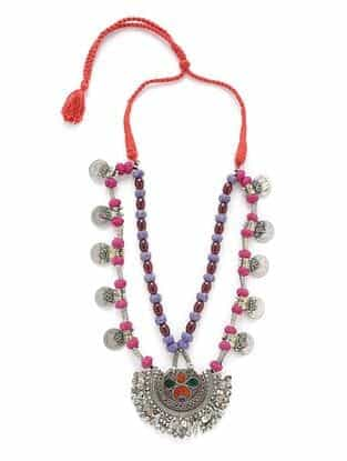 Pink Purple Silver Tone Tribal Necklace