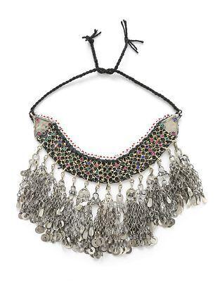 Multicolored Silver Tone Tribal Choker Necklace