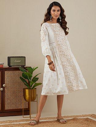 White Mustard Block Printed Slub Cotton Dress with Lace Detailings
