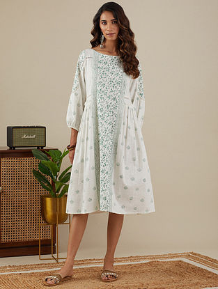 White Leafy Green Block Printed Slub Cotton Dress with Lace Detailings