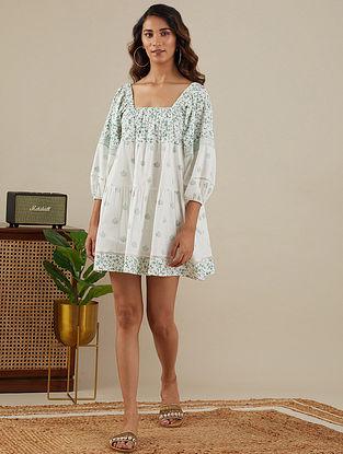 White Leafy Green Block Printed Slub Cotton Dress with Elasticated Waist