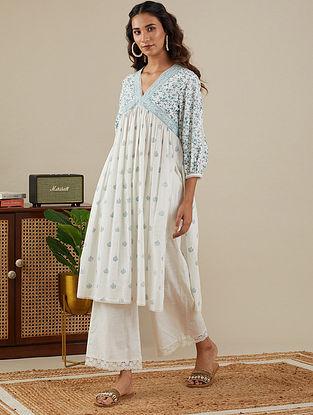 White Teal Blue Block Printed Slub Cotton Kurta and Pants with Lace Detailings (Set of 2)