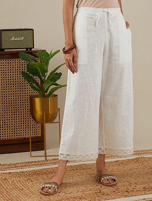 White Lace Trimmed Slub Cotton Pants