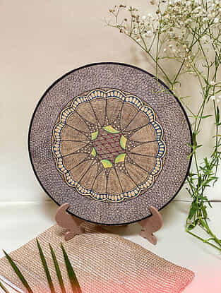 Brown Lotus Plate With Stand (L- 10in, H- 12in)