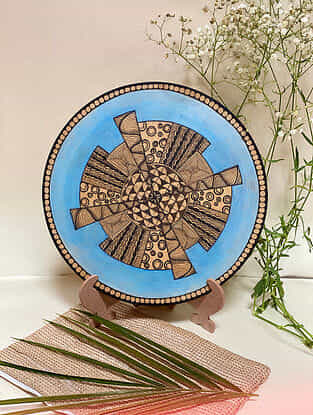 Brown Geometrical Plate With Stand (L- 10in, H- 12in)